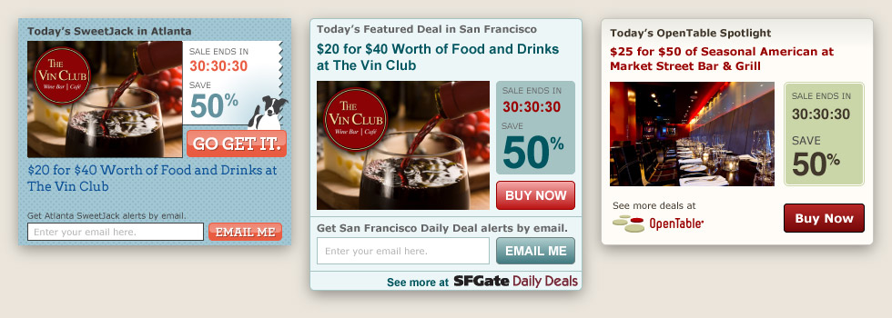 BluLabel Daily Deal widgets for SF Gate, Sweetjack Cumulus Media, and Opentable by Kyle McGuire