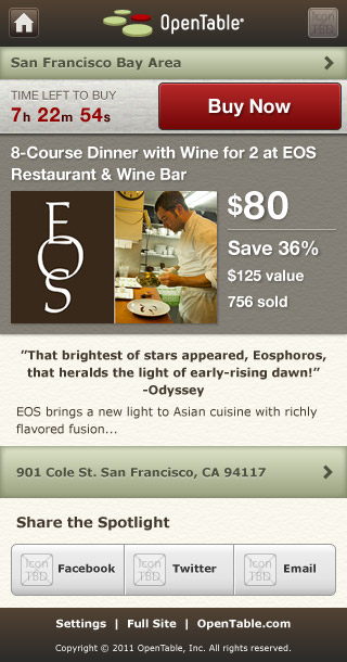 Mobile HTML5 OpenTable Spotlight Deal Page by Kyle McGuire